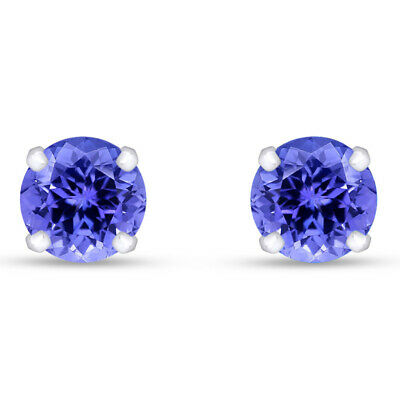 1.00 Ct Round Cut Tanzanite Solid 14K White Gold Stud Earrings