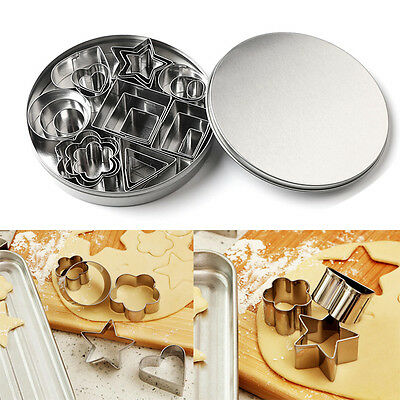 25Pcs Stainless Steel Cookie Cutter Set Biscuit Pudding Cake Decor Baking Mould