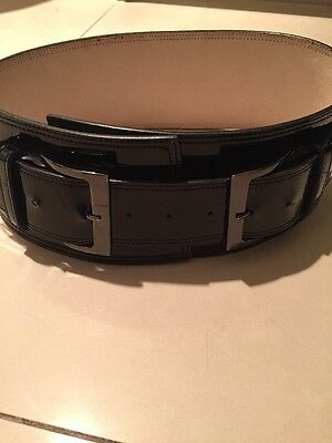Cue Black Patent Leather Belt Small 6 8