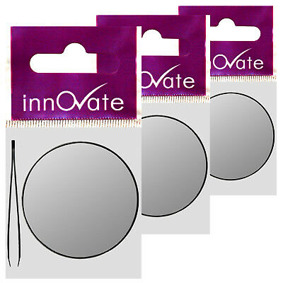 Innovate Magnify Close Up Suction Cup Pocket Size Mirror + Tweezers Triple Pack