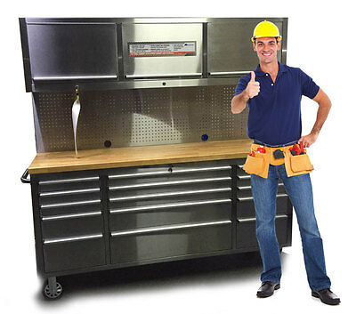 "72""Stainless Steel Rolling Tool Chest Pegboard Overhead Cabinet Wooden Workbench"