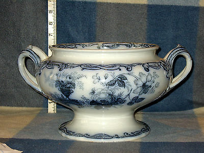 Antique Blue & White Transfer Ware Large Twin Handled Pedestal Bowl T R Boote?