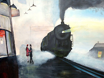 """SIGNED OIL ON STRETCHED CAVASS PAINTING OF A STEAM LOCO AT THE STATION 20"""" x 16"""""""