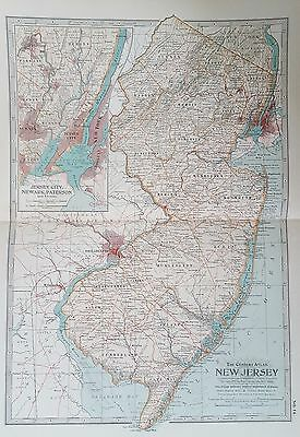 Rare Antique 1897 Century Atlas Map Of New Jersey