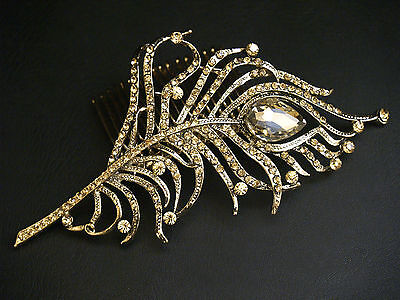 "4.8"" Vintage Gold Peacock Feather Crystal Hair Slide Comb - Bridal Wedding"