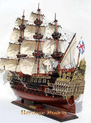 "HMS Sovereign of The Seas, Beautiful 37"" Wooden Model Fully Built, Exquisite"
