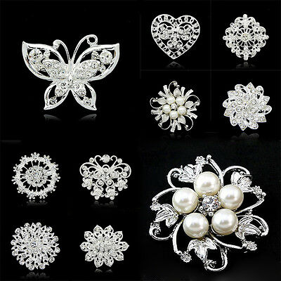 Vintage Brooch Pins Silver Flower Heart Butterfly Crystal Pearl Rhinestone Party