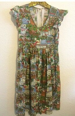 Vintage Girls Garden Party Floral Twee Cotton Handmade Sun Summer Tea Dress 7 8y