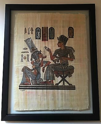 Pharanic scenes on papyrus framed