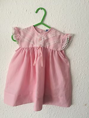 Vintage Girls Baby 70s Pink Lace Summer Sun Traditional Kitsch Smock Dress 6-12m