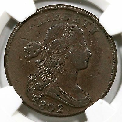 1802 S-225 NGC VF 30 Draped Bust Large Cent Coin 1c