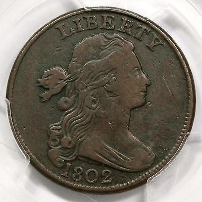 1802 S-235 PCGS VF 25 Draped Bust Large Cent Coin 1c