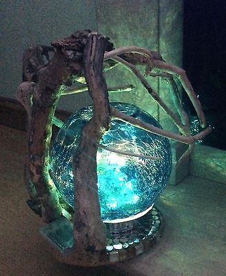 Beautiful Unique Hand Made Round Sphere Driftwood Art table lamp/night Light