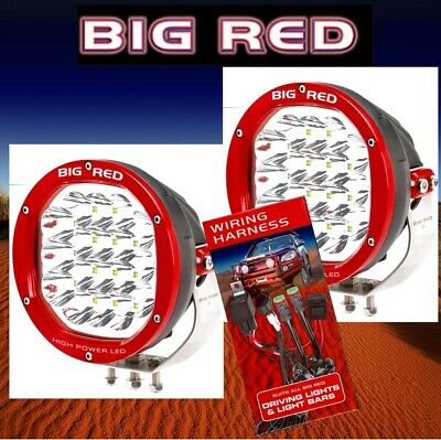 Big Red 180mm High Power 18 x 5 w Cree Led 90w Pair of Driving Lights & Wiring H
