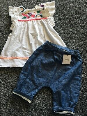 NEXT baby girls floral White dress & Loose Trousers outfit  age 3-6 months