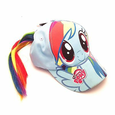 Girls My Little Pony Rainbow Unicorn Light Blue Baseball Cap Hat & Ponytail Hair