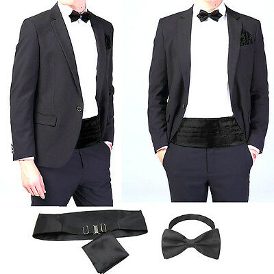 UK Fashion Men Gentleman Italian Satin Cummerbund & Bow Tie & Hanky Wedding Set