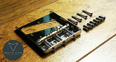 "Tele Telecaster Ashtray Bridge With Brass Saddles And 1/4"" String Ferrules"