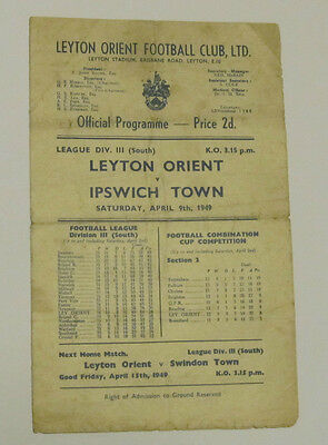 1948/49 Leyton Orient v Ipswich Town. Division 3 South