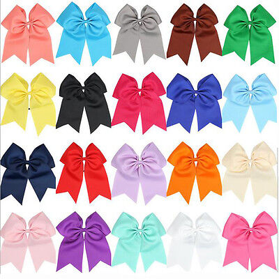 8 Inch Solid Color Cheerleading Boutiqiue Cheer Bow With Elastic Band For Girl's