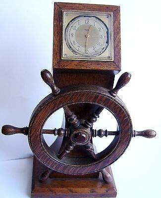 Antique or Vintage Oak Clock in the design or a Ships Wheel. Very unusual.