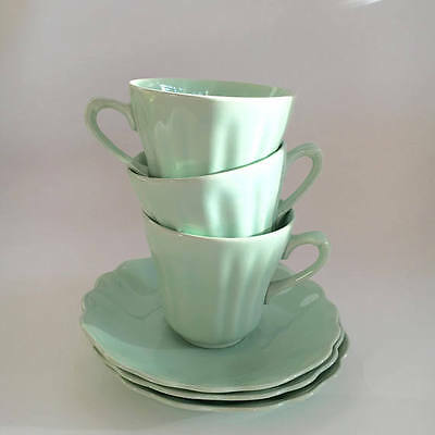 J & G Meakin Jade Teasets Cups and Saucers c1950 Set of Three (3)