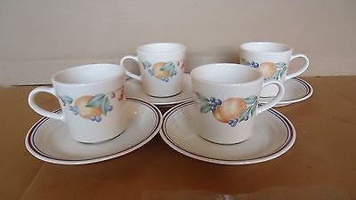 Corelle Corning Abundance Tea Cup & Saucer Set of 4 Made in USA