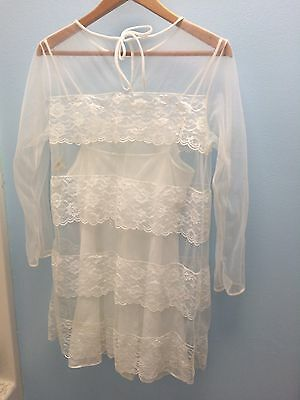 Hipster 60's Peignoir Nightgown Set White Chiffon Nylon Lace Layers M