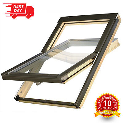 OPTILIGHT Roof Window 78 x 98cm Centre Pivot Skylight + Flashing Tile or Slate