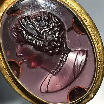 Antique Victorian Gold Filled Amethyst Glass Cameo Pendant Pin Brooch Brooches