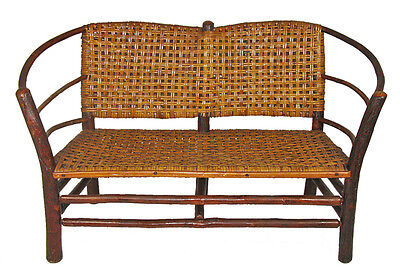 Old Hickory Hoop-Arm Settee Loveseat for Rustic Lodge, Adirondack Camp Cabin