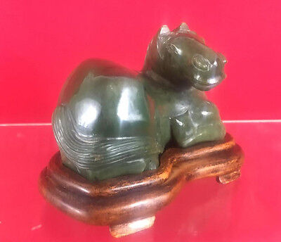 Chinese  Green Nephrite Jade Carving Horse with Wooden Stand