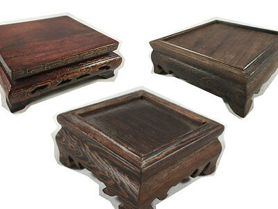 Lot Of 3 Carved Wooden Chinese Japan Display Stands Pedestals