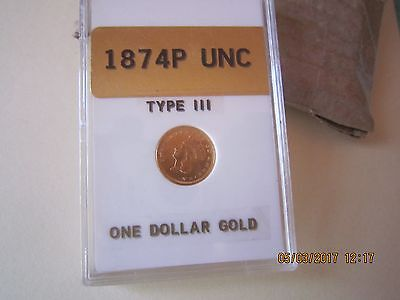 1874 P $1.00 Gold Indian Princess Uncirculated (Type lll)