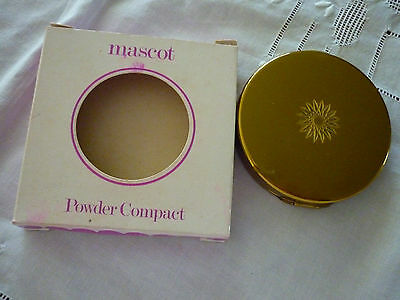 Vintage 70's Mascot Art Deco Style Round Gold Metal Powder Compact With Card Box
