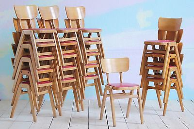 4x Vintage MidCentury Industrial Wood Stacking Ben School Cafe Dining Chairs