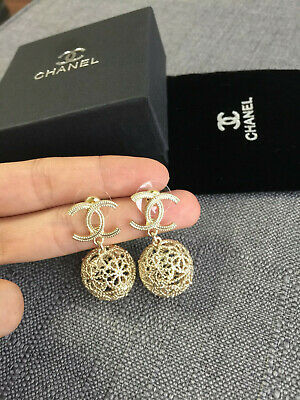 NEW  chanel  cc  Earrings gold  crystal ball cage pearl drop  studs  classic