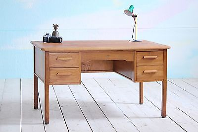 Vintage MidCentury Abbess Double Pedestal Wooden School Office Writing Desk