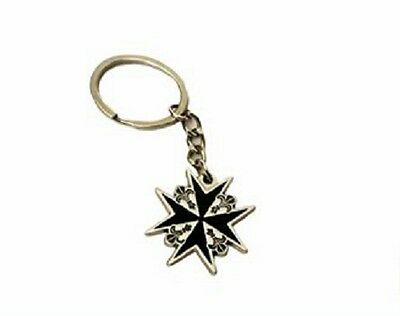 Knights Templar Malta Cross Keyring Keychain 2 colours Available Metal
