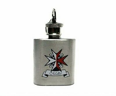 Knights Templar Malta Cross Min Hip Flask  Metal