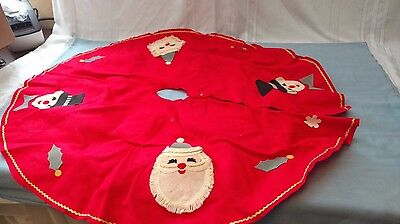 Vintage Christmas Tree Skirt~~Felt,applique.  Santa, Snowman~Japan
