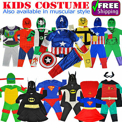NEW Size 1~12 KIDS COSTUMES BOYS DRESS UP PARTY SUPERHERO BATMAN COSTUME TOYS