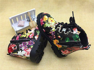 Floral Girl Shoes Boots White Black Flower Doc Martens Style Toddler Baby New