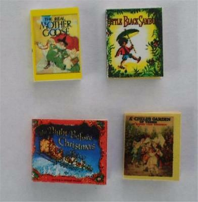 Set of 4 Dollhouse Miniature Books Complete and  Illustrated in Color. Amazing!