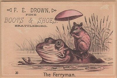 Victorian Trade Card-F E Drown Shoes-Brattleboro, (VT)-Mouse Riding on Frog