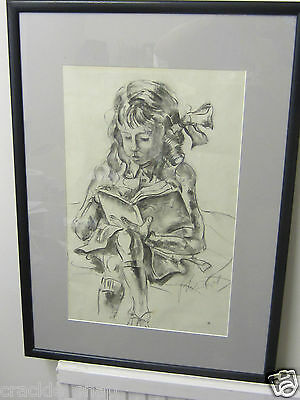 Original Drawing of a Young Girl Reading by Peter Wishart (1846-1932)