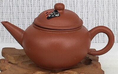 20th century Chinese Yixing zisha purple clay teapot signed with label