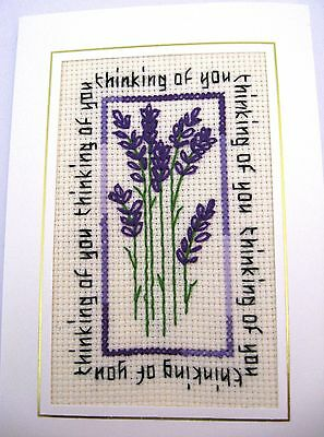 Thinking of You Completed Cross Stitch Card Lavender 6x4""