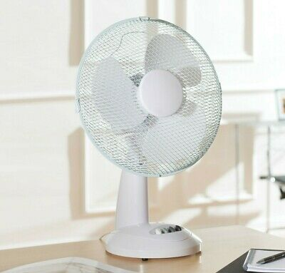 """Daewoo White 12"""" 3 Speed Electric Oscillating Worktop Desk Table Air Cooling Fan"""