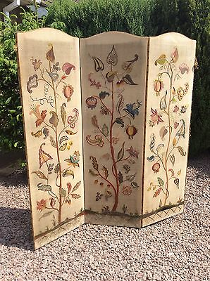 Vintage 3 Panel Embroidered Folding Room Divider Privacy Screen ( Project )